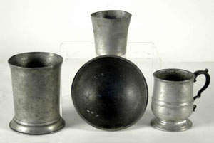 pewter cups and bowl